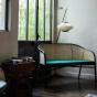 Cavallo Sofa, Fir Green Velvet with Black Lacquered Frame