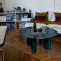 Carlotta Coffee Table, Green Marble Top and Green Legs
