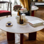 Carlotta Coffee Table, Travertine Top and Red Legs