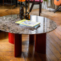 Carlotta Coffee Table, Brown Marble Top and Red Legs