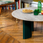 Carlotta Coffee Table, Travertine Top and Green Legs