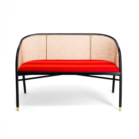 Cavallo Sofa, Kvadrat / Raf Simons Navy Orange with Black Lacquered Beechwood Frame - Limited Edition