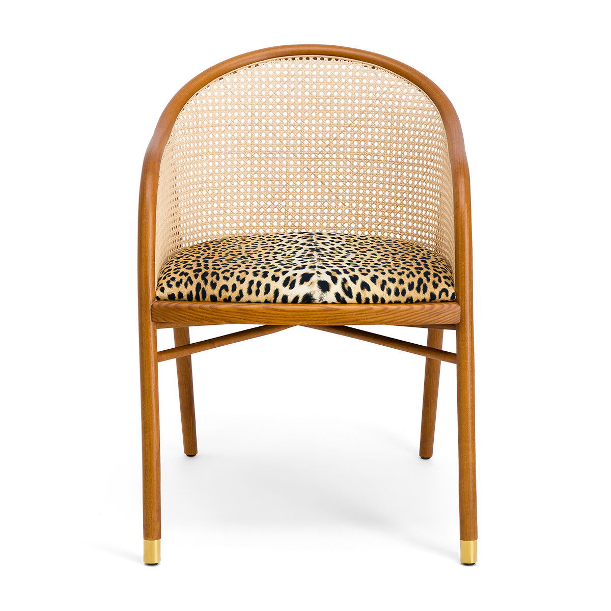 Cavallo Armchair, Panther Print with Cherrywood Frame