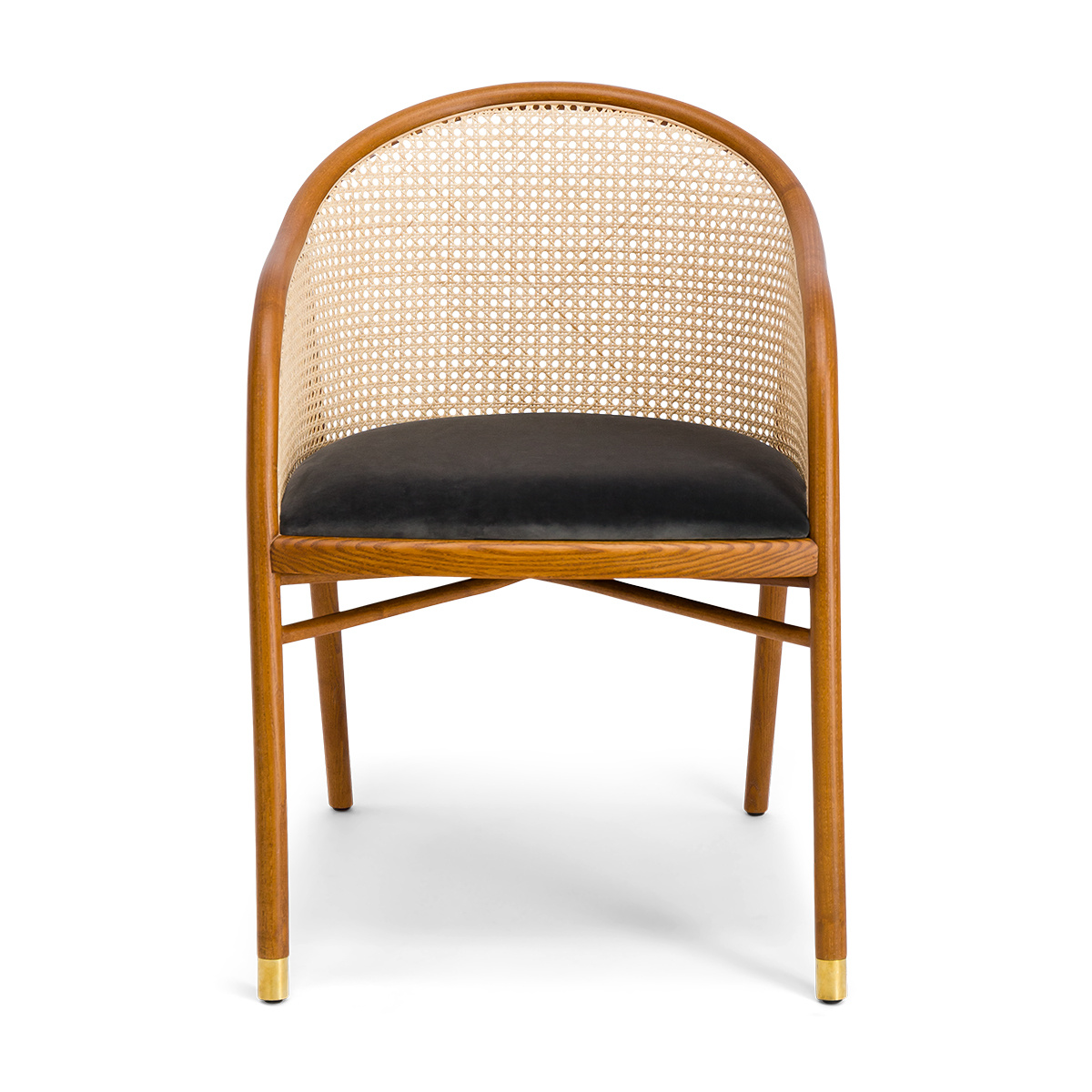 Cavallo Armchair, Grey Velvet with Cherrywood Frame