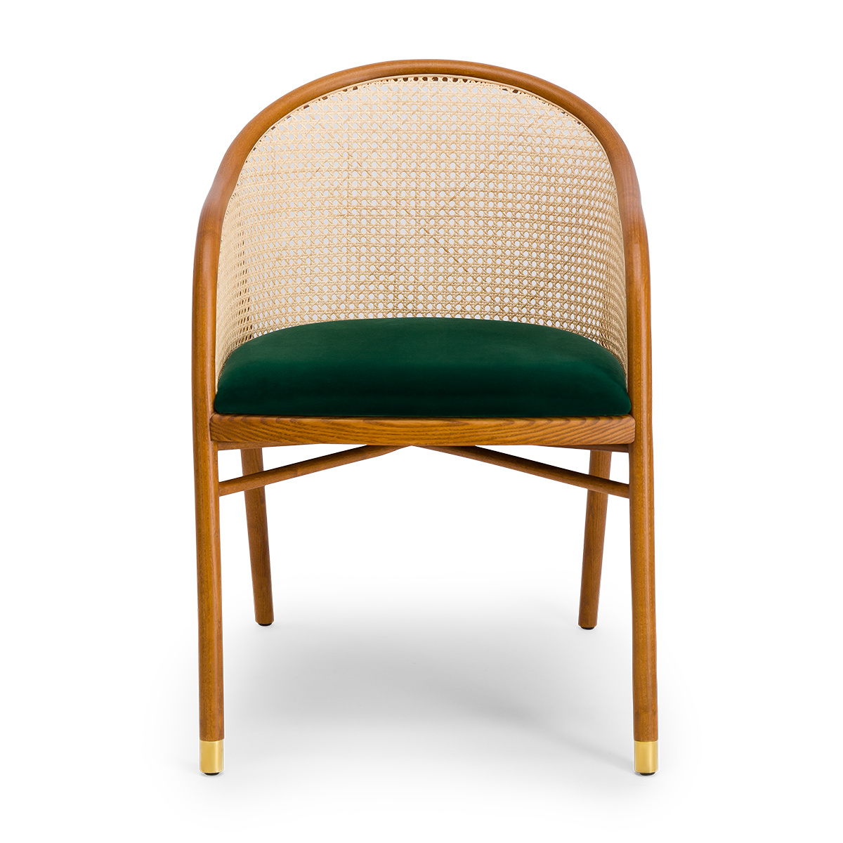 Cavallo Armchair, Fir Green Velvet with Cherrywood Frame