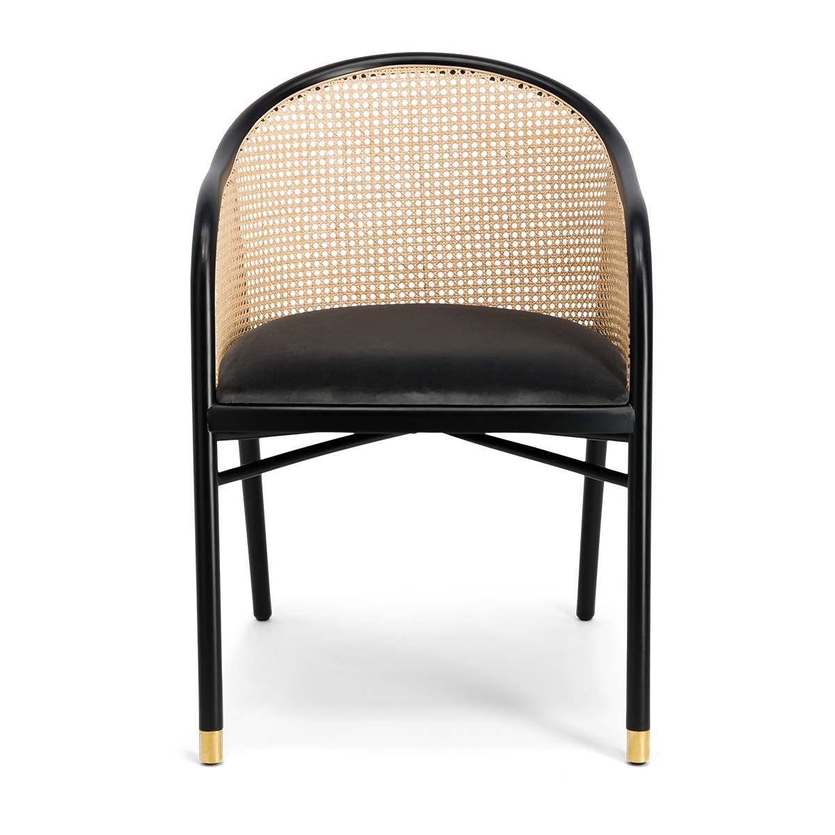 Cavallo Armchair, Grey Velvet with Black Lacquered Frame