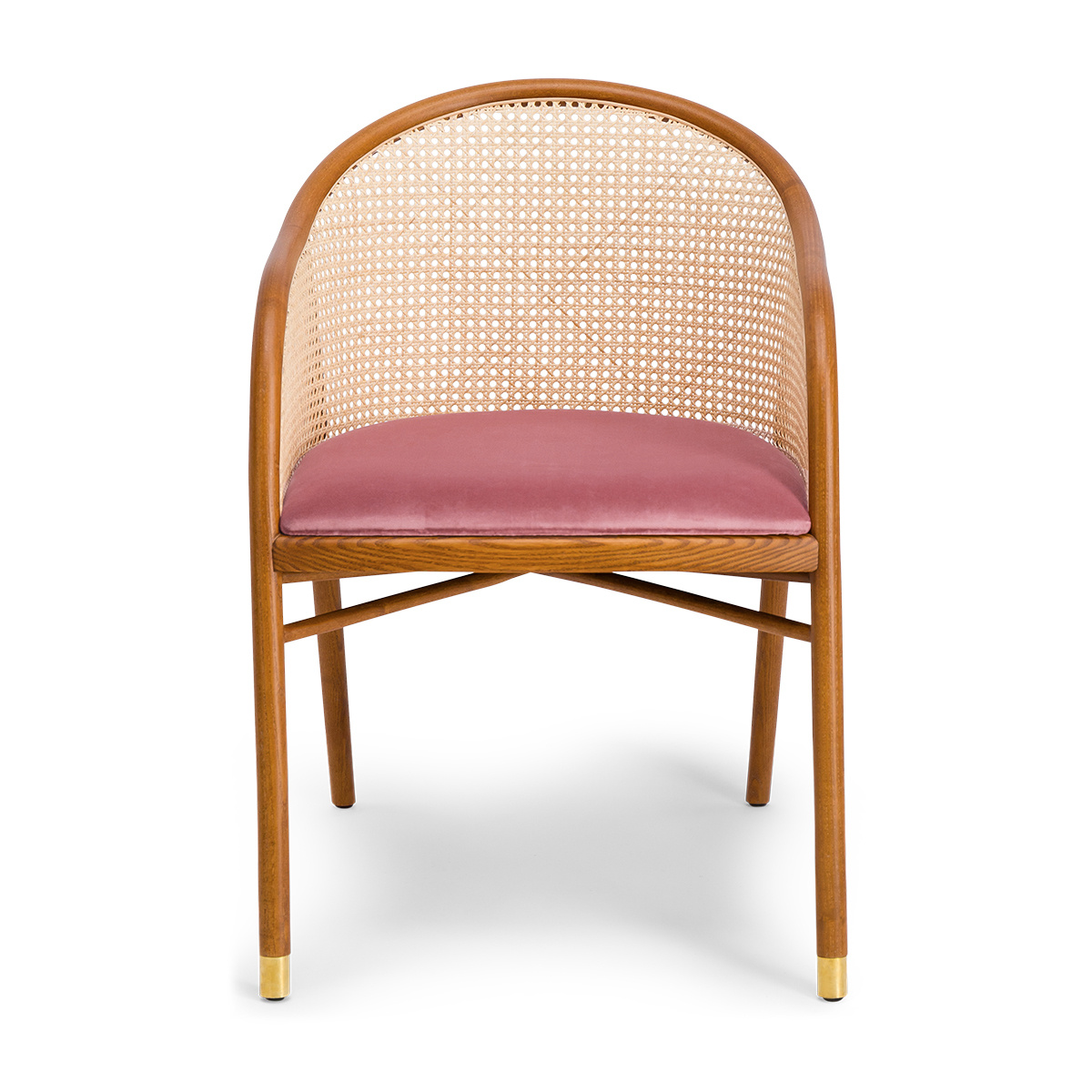 Cavallo Armchair, Pink Velvet with Cherrywood Frame