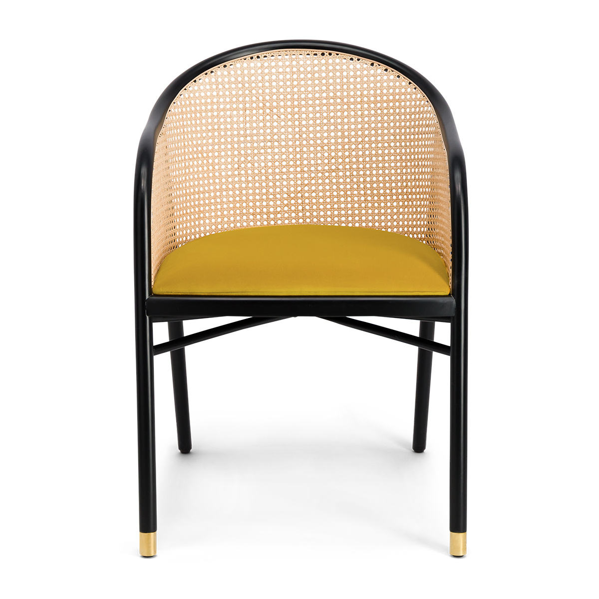Cavallo Armchair, Yellow Velvet with Black Lacquered Frame
