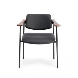 Pio Armchair, Black Leather with Cherrywood Frame