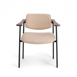 Pio Armchair, Beige Felt with Cherrywood Frame