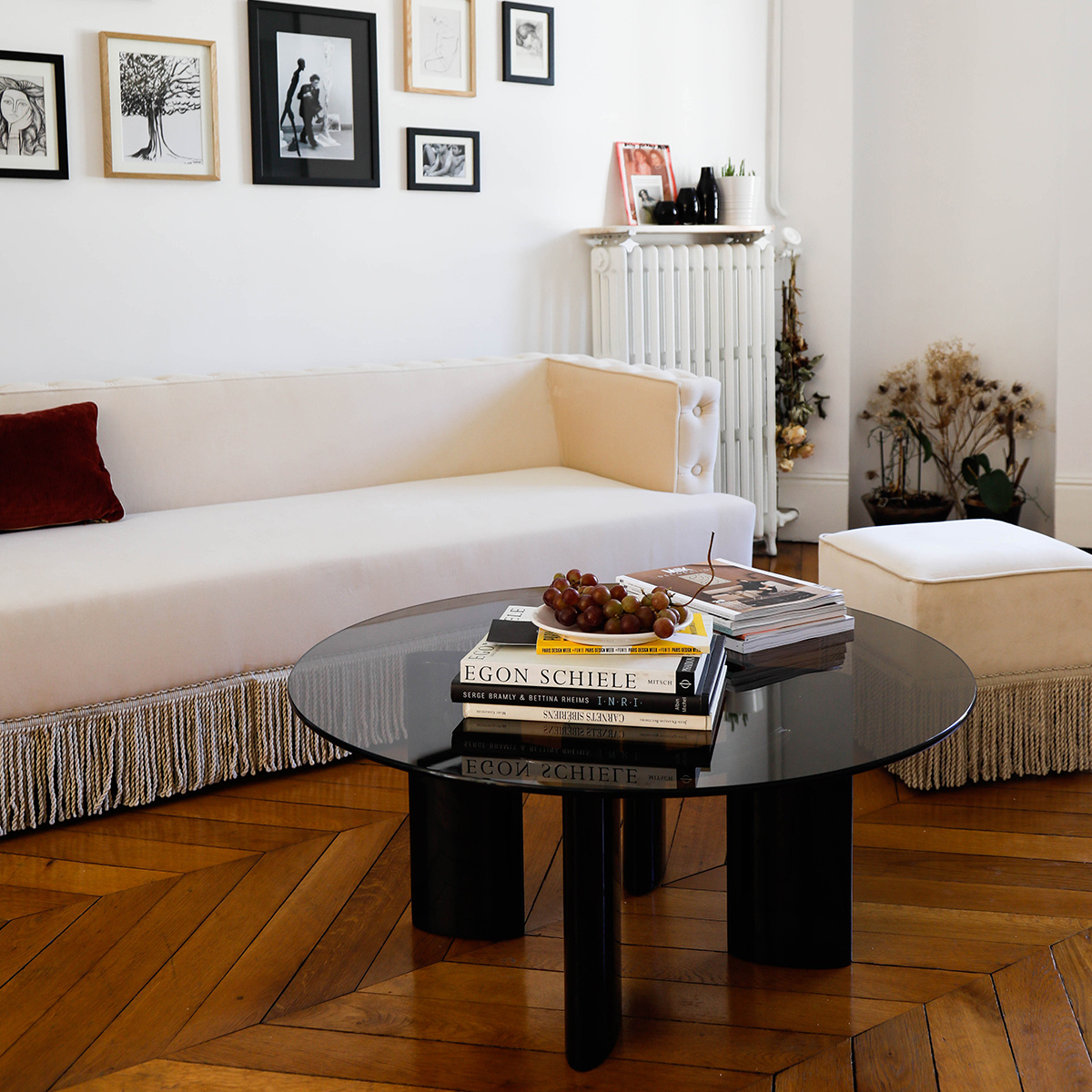 Coffee Table With Black Lacquered Legs And Smoked Glass Top