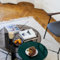 Carlotta Coffee Table, Smoked Glass Top and Black Legs