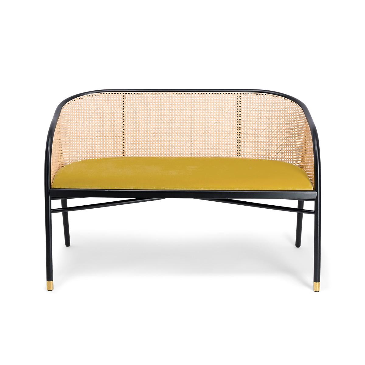 Cavallo Sofa, Yellow Velvet with Black Lacquered Frame