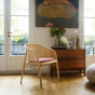 Cavallo Armchair, Pink Velvet with Natural Frame