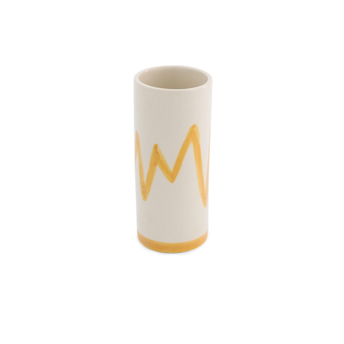 Domino pot medium model mustard pattern