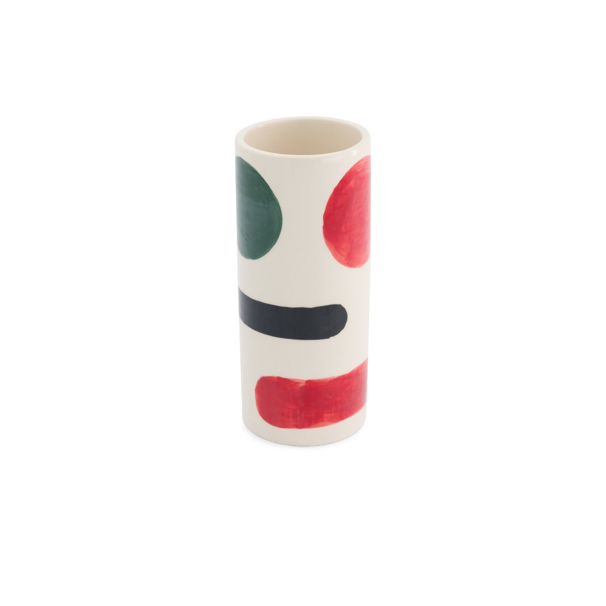 Domino pot medium model with black, red and green pattern
