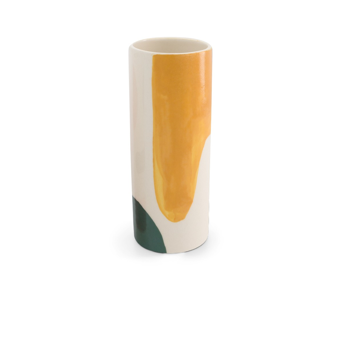 Domino pot medium model with green and mustard pattern