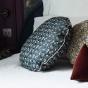 Bomboloni cushion with precious green pattern