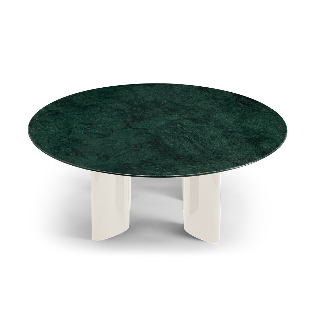 Carlotta coffee table, green marble top and cream white lacquered legs