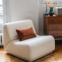 Rotondo fireside chair in cream white curly wool