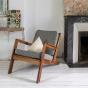 Gloria fireside chair brown wood, textured black and white Dedar fabric