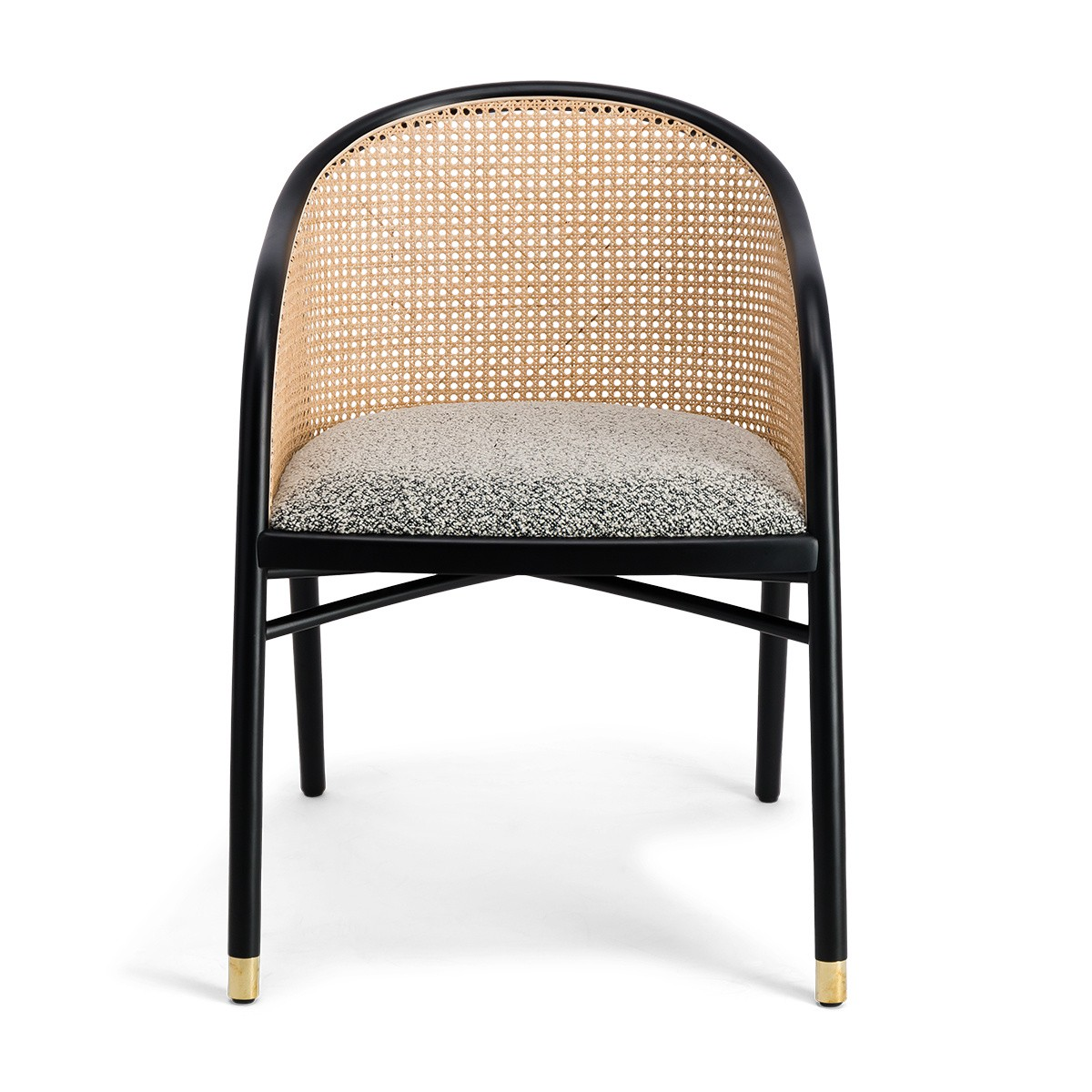 Cavallo Armchair, Black and White Curly Wool with Black Lacquered Frame