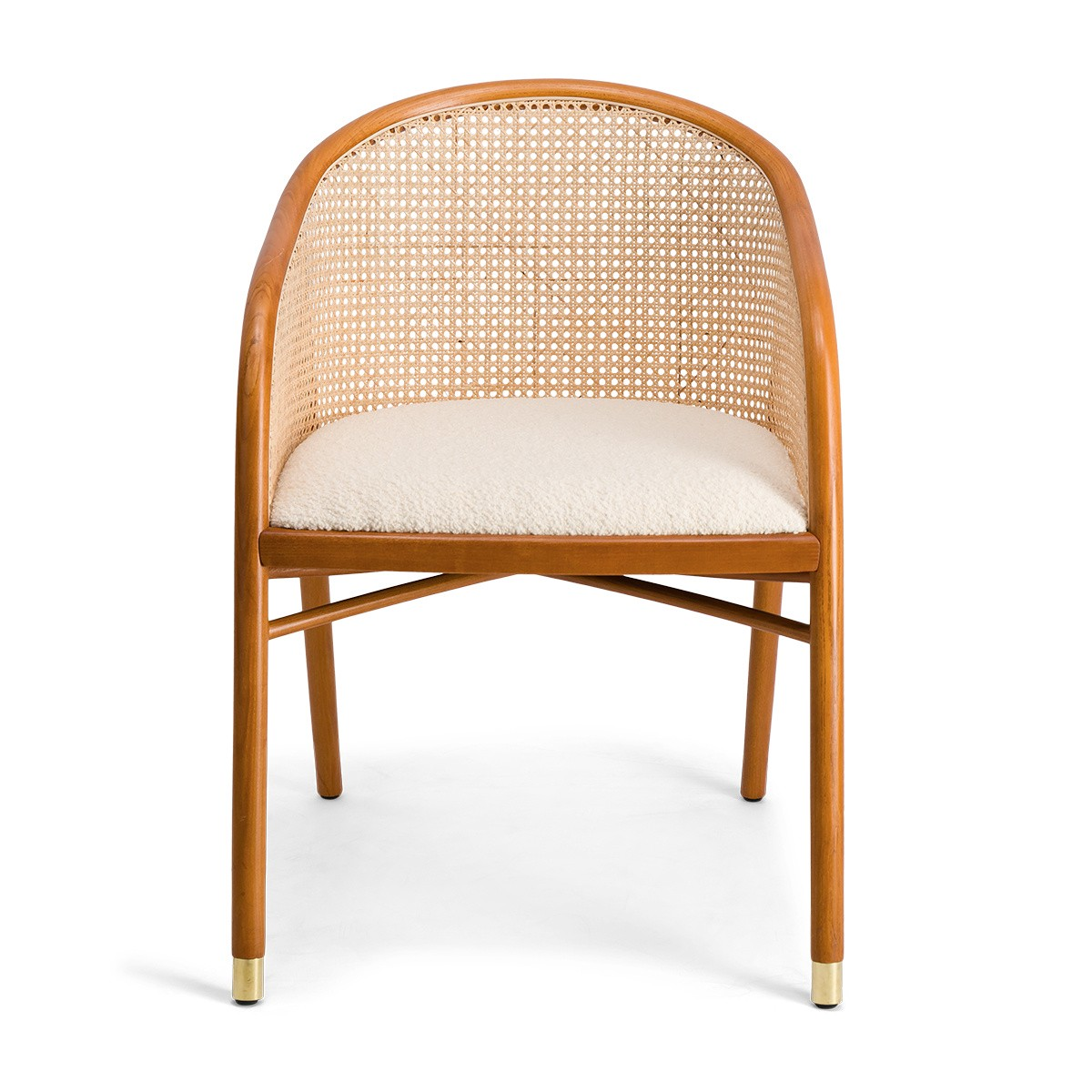 Cavallo Armchair, Cream White Curly Wool with Cherrywood Lacquered Frame