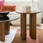 Carlotta Coffee Table, Smoked Glass Top and Ash Wood with Iroko Finsh Legs