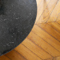 Carlotta Coffee Table, Black Marble Top and Ash Wood with Iroko Finsh Legs