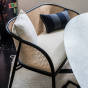 Cavallo Sofa, Cream White Curly Wool with Black Lacquered Frame