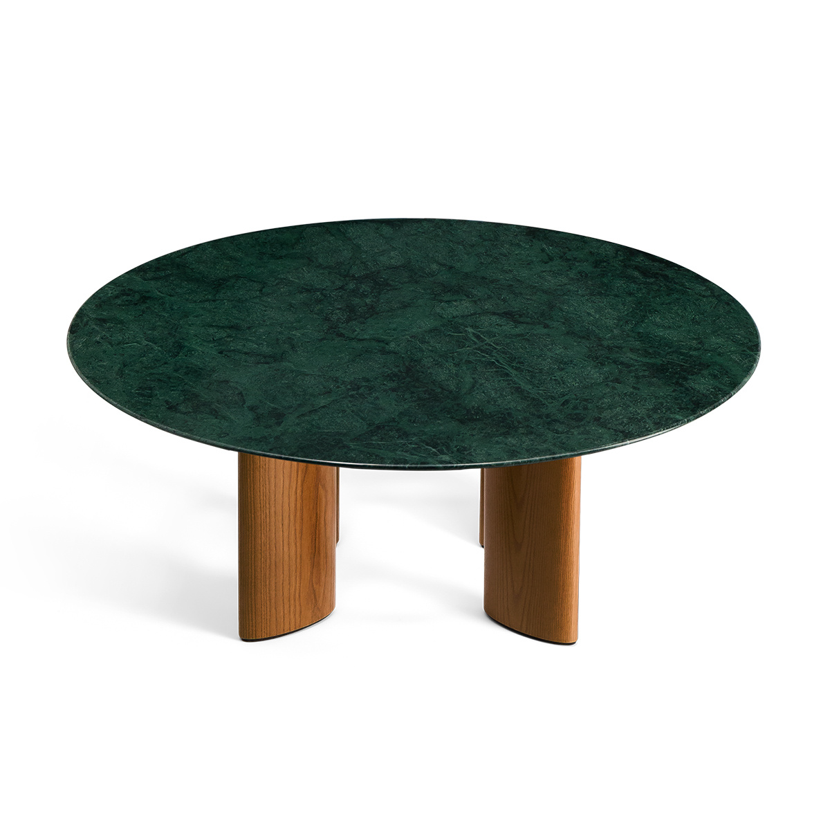 Carlotta Coffee Table, Green Marble Top and Ash Wood with Iroko Finsh Legs
