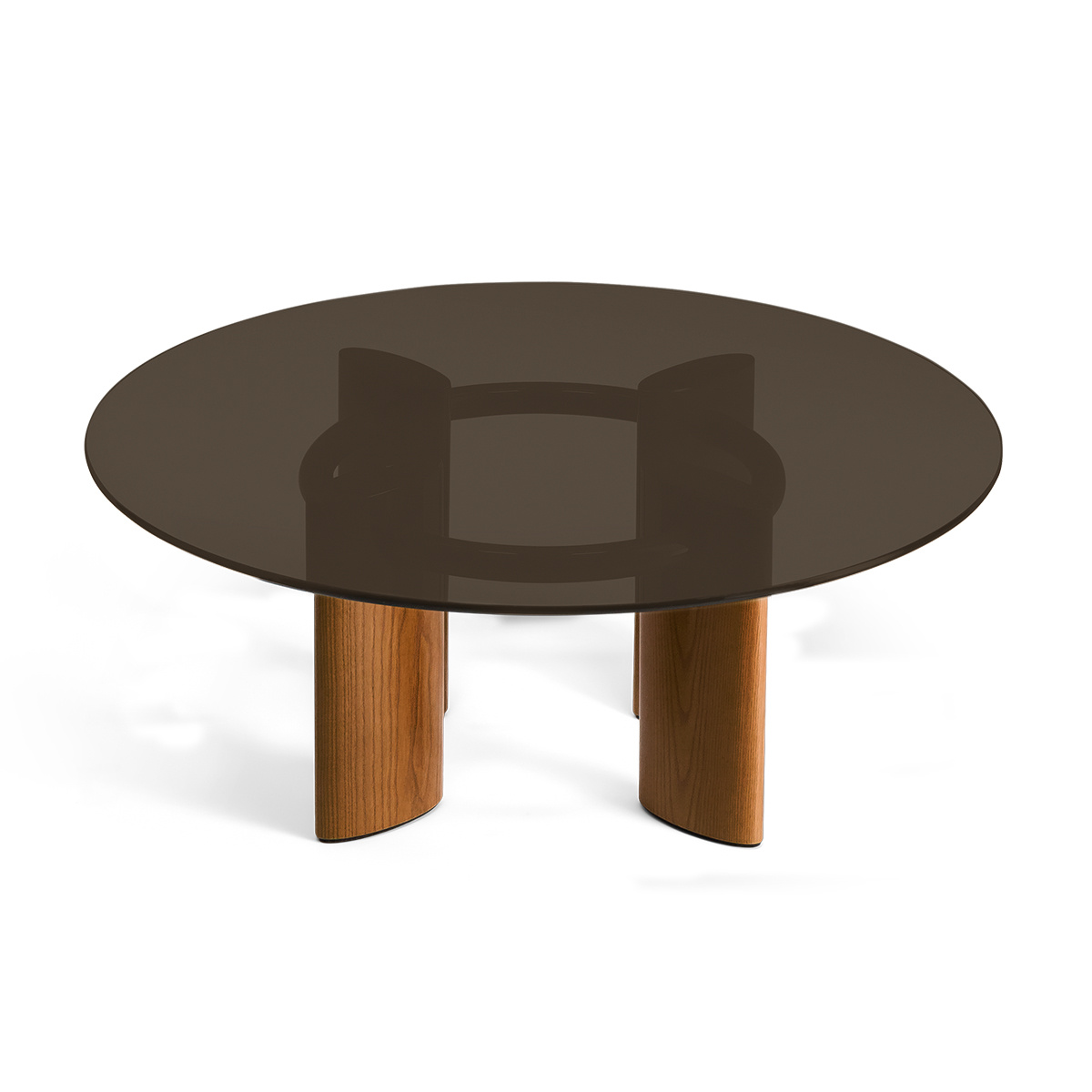 Carlotta Coffee Table, Smoked Glass Top and Ash Wood with Iroko Finsh Legs