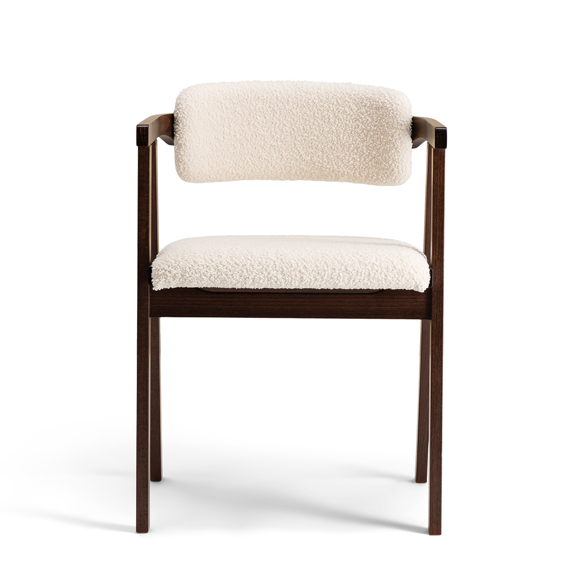 Milano Chair with Brown Wood and Cream White Curly Wool