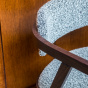 Milano Chair with Brown Wood and Black & White Curly Wool