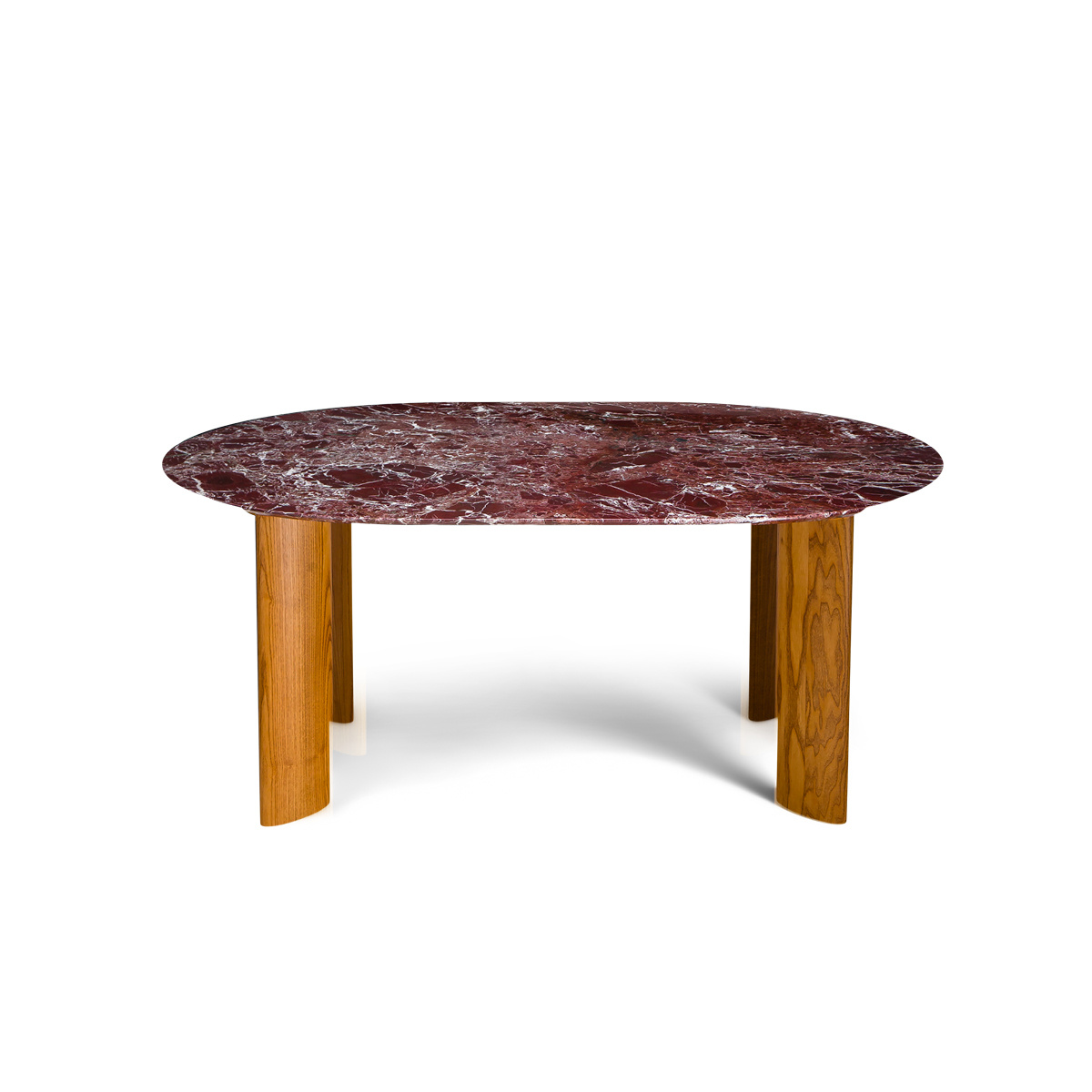 Carlotta Alta Dining Table Red Marble and Iroko Finish Legs - 6 Seats