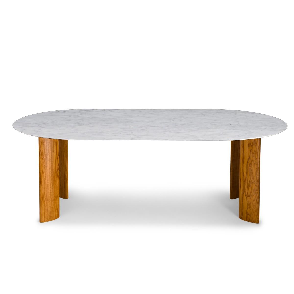 Carlotta Alta Dining Table White Marble and Iroko Finish Legs - 8 Seats