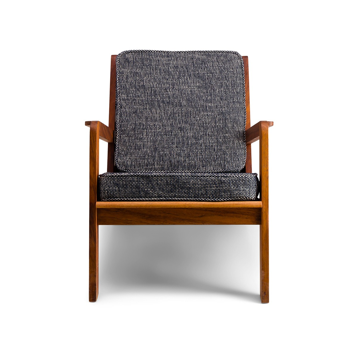 Gloria Fireside Chair in Brown Wood with Navy Blue Textured Fabric