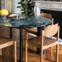 Carlotta Alta Dining Table Green Marble and Black Legs - 8 Seats