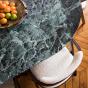 Carlotta Alta Dining Table Green Marble and Iroko Finish Legs - 8 Seats