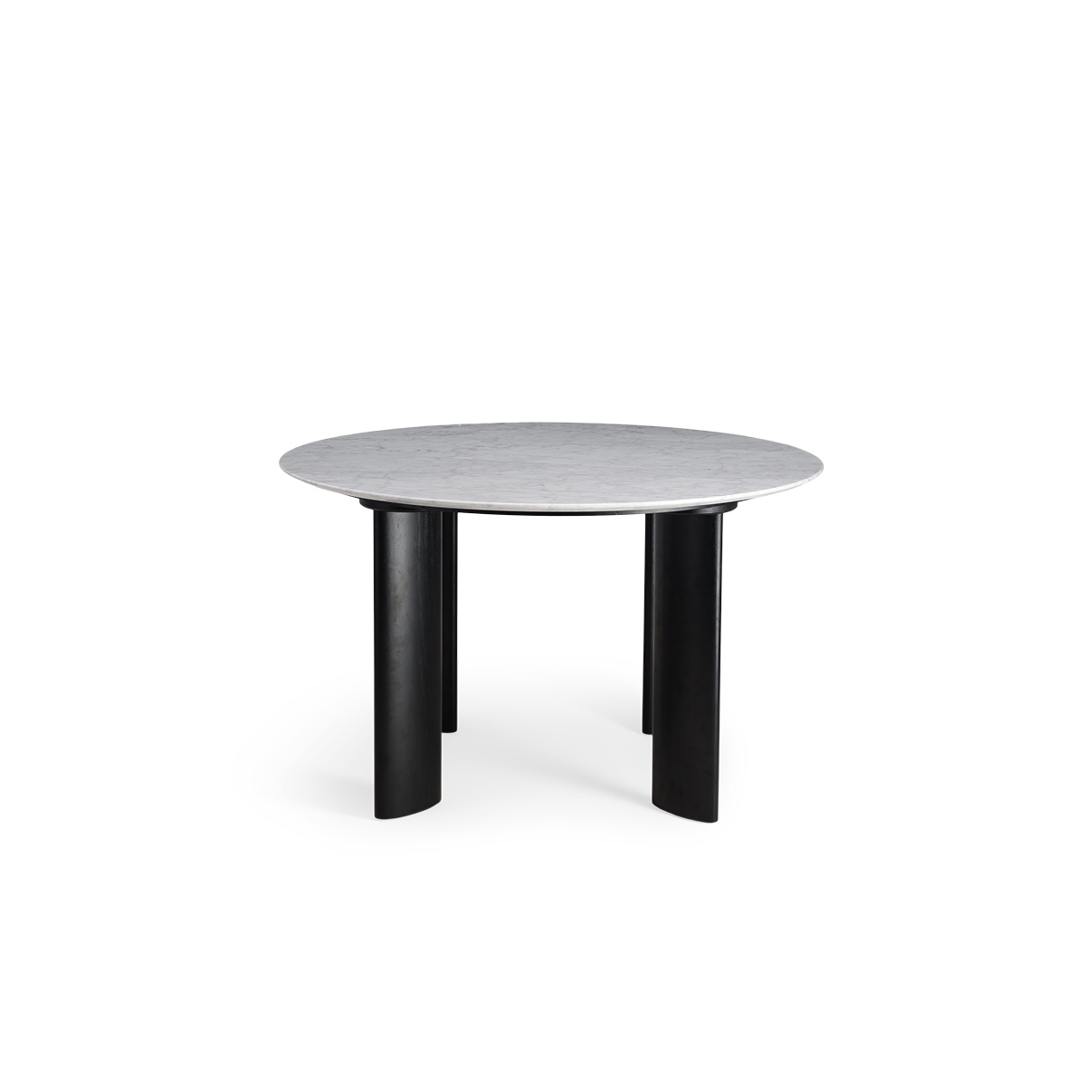 Carlotta Alta Dining Table White Marble and Black Legs - 4 Seats
