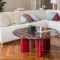 Carlotta Coffee Table, Red Lacquered Legs and Red Marble