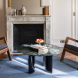 Carlotta Coffee Table, Black Lacquered Legs and Green Marble
