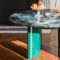 Carlotta Coffee Table, Green Lacquered Legs and Green Marble