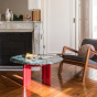 Carlotta Coffee Table, Red Lacquered Legs and Green Marble