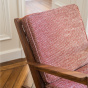 Gloria Fireside Chair in Brown Wood with Red and White Textured Fabric