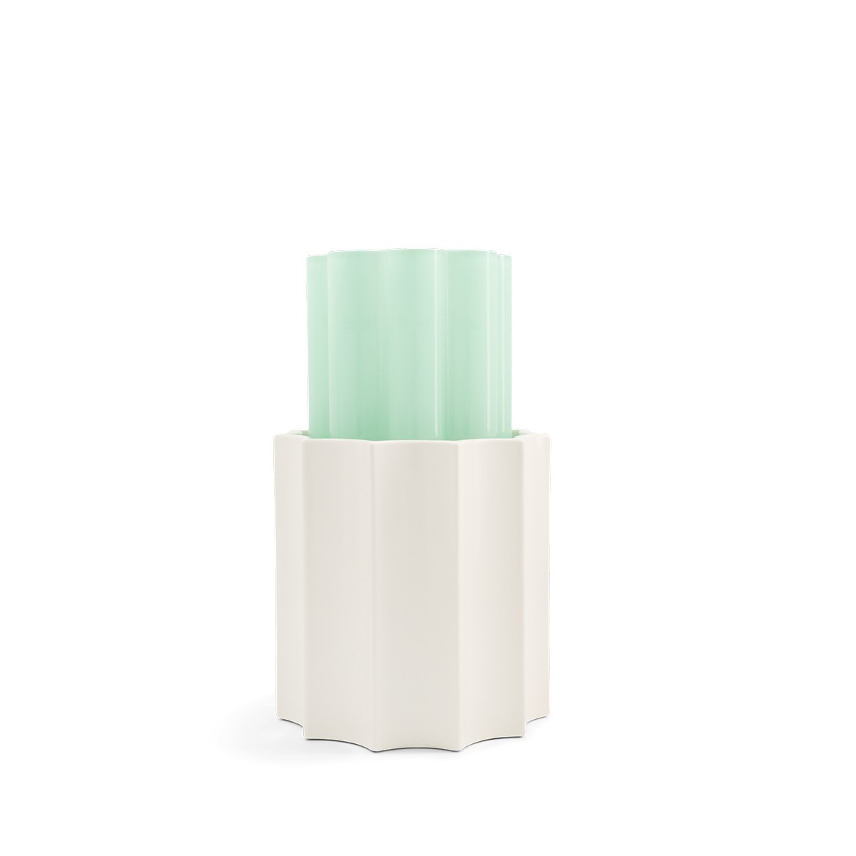 Anise Green and White Duetto Vase