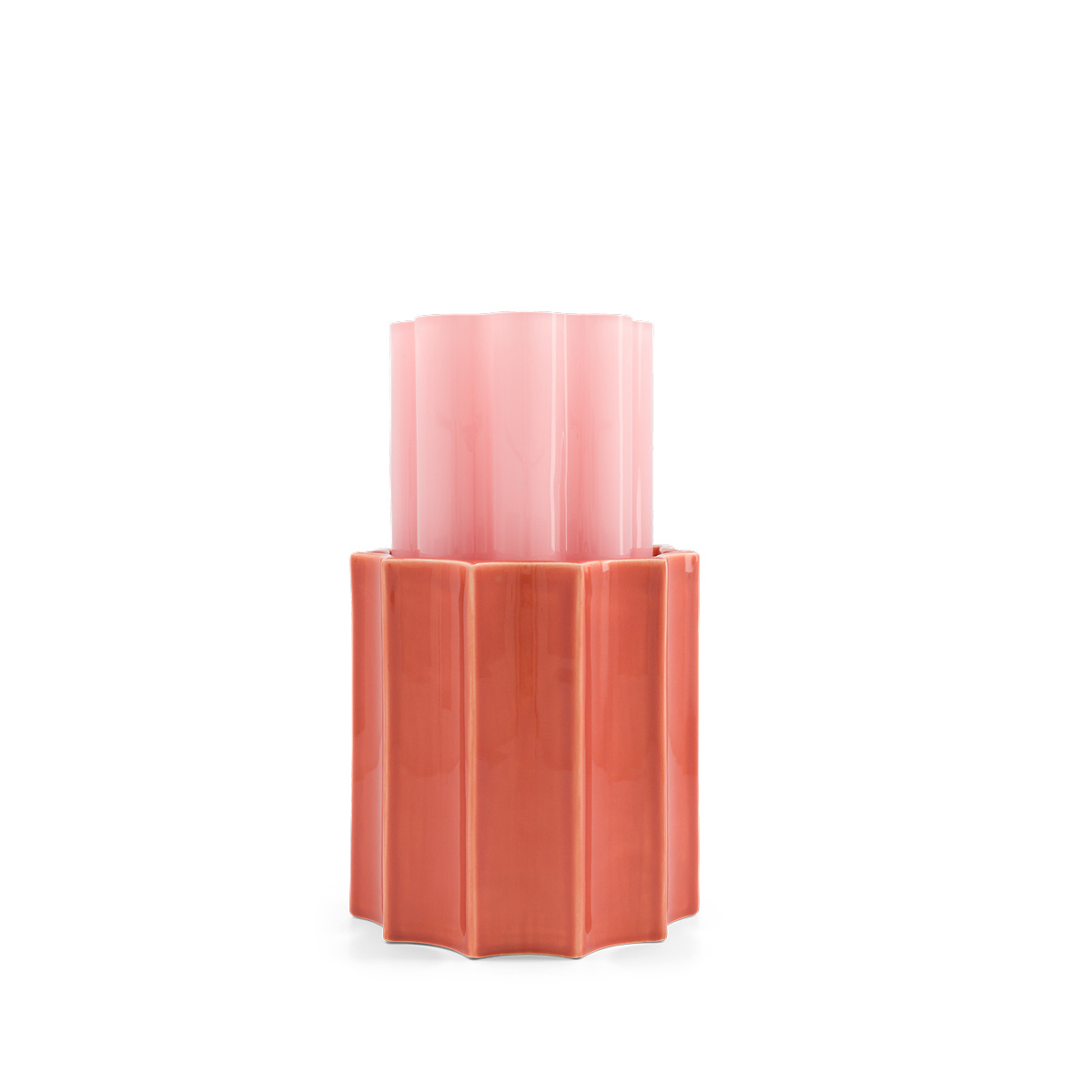 Candy Pink and Terracotta Duetto Vase