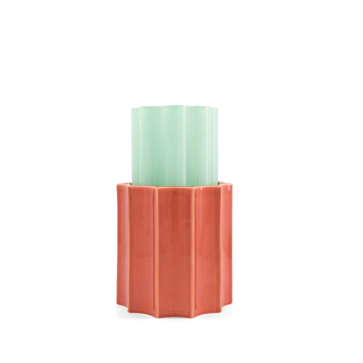 Anise Green and Terracotta Duetto Vase