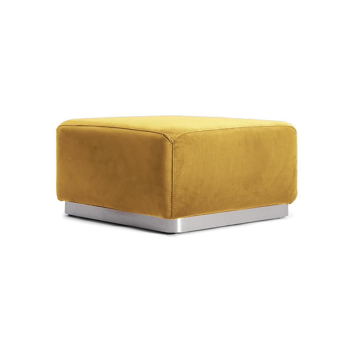 Rotondo Footstool in Mustard Velvet