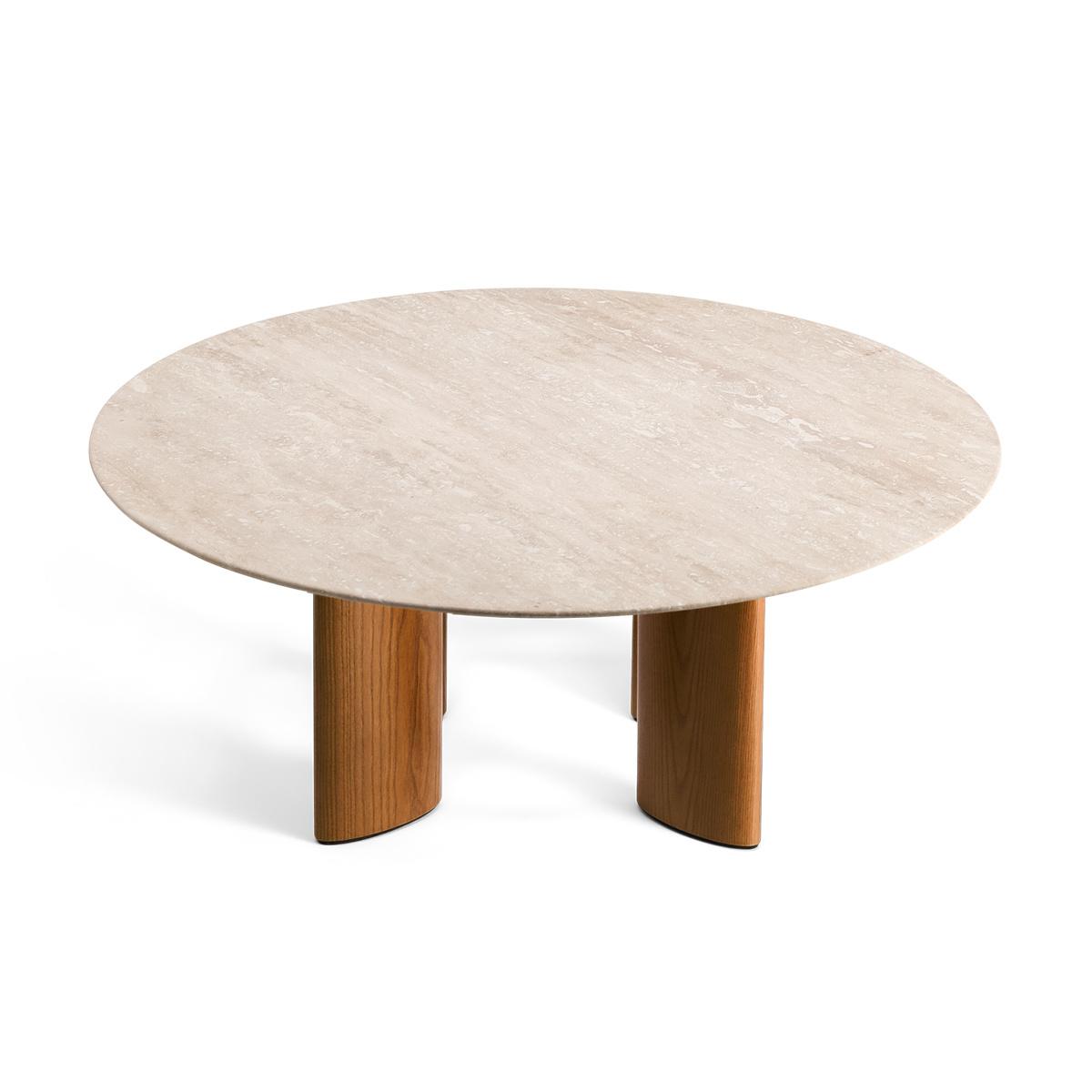 Carlotta Coffee Table, Travertine Top and Ash Wood with Iroko Finsh Legs